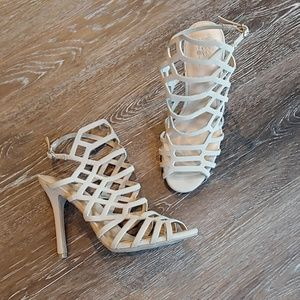 EUC Mossimo Bone Strappy Stiletto Sandals